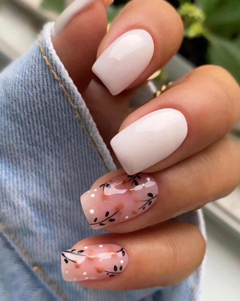 Работа от @nailsbypaulin Осенний Нежно-розовый с белым маникюр с веточками