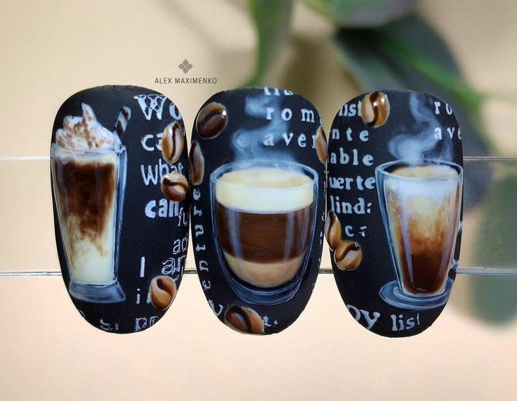 Работа от @alex_maximenko_nails Черный маникюр с кофе, роспись на ногтях