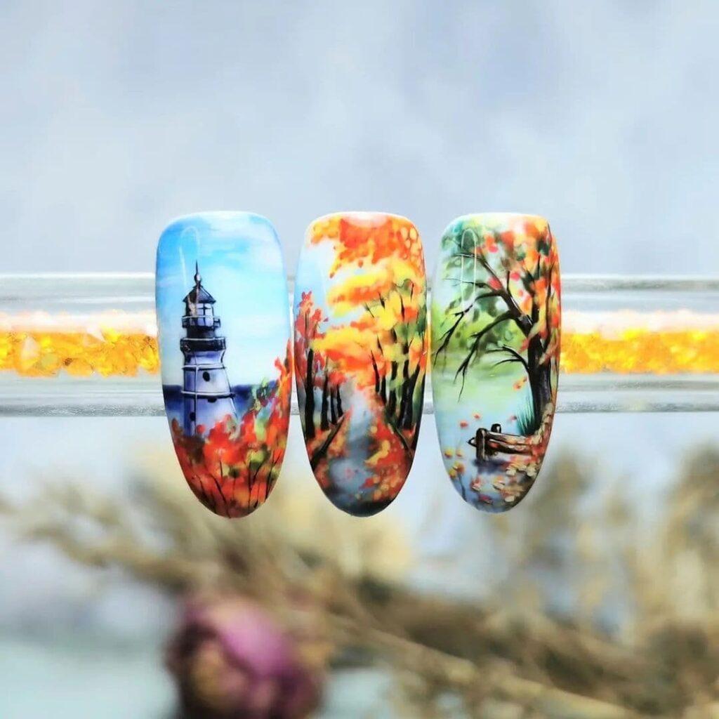 Осенний маникюр с росписью на ногтях, маяк, желто-красные деревья