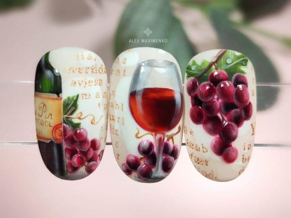 Работа от @alex_maximenko_nails Молочный маникюр с вином и виноградом, роспись на ногтях