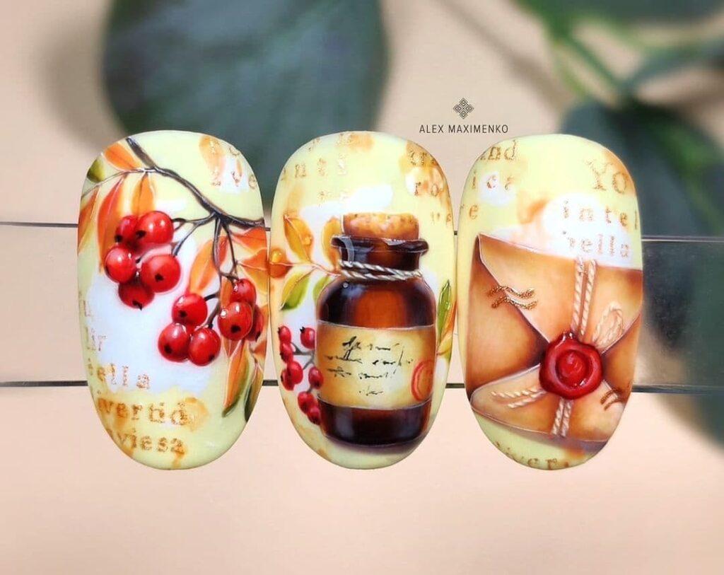 Работа от @alex_maximenko_nails Бело-желтый осенний маникюр с рябиной, роспись на ногтях