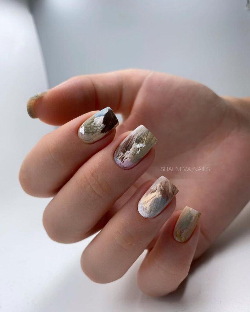 Работа от @shalneva_nails Текстурный пастельный маникюр с золотом, мазки на ногтях